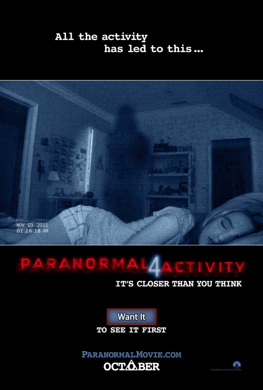《灵动:鬼影实录4》(Paranormal Activity 4)首曝海报预告